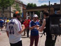 French fans in fan zone Stock Photos