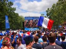 French fans in fan zone Royalty Free Stock Photo