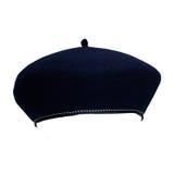 French felt beret. Traditional blue French felt beret against white background Stock Image