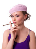 French female in beret isolated Stock Photos
