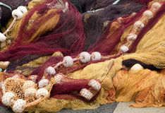 French fishing nets. Colorful fishing nets in the port of Saint-Jean-de-Luz in Basque country in France royalty free stock photo
