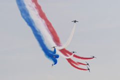 French Flag. Formation flight from Patrouille de France royalty free stock photo