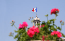 French Flag. On top of the Luxembourg Palace in Paris stock photo