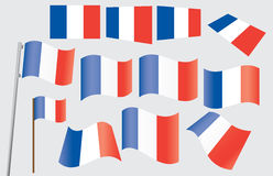 French flag. Set of French flags vector illustration Royalty Free Stock Photography