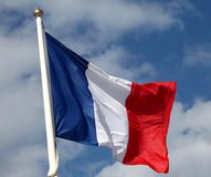 French flag. Waving in the wind Stock Photography