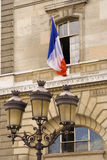 French flag. Hanging from an open window Royalty Free Stock Image