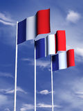 French flag. The flag of France under a blue sky stock illustration