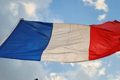 French Flag. Waves in the wind Royalty Free Stock Photography