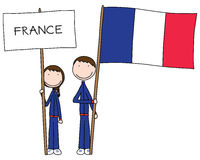 French flag. Illustration of a boy and girl holding French flag and title stock illustration