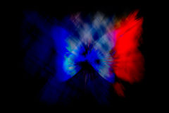French Flag Abstract Violence. A butterfly, an angel in the colors of the French flag to represent the victims of terrorism in France royalty free stock photography