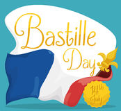 French Flag around Greeting Sign for Bastille Day, Vector Illustration Royalty Free Stock Photography