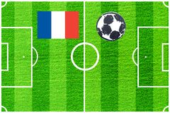 French flag on the background of a football field stock images