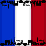 French flag background with silhouettes of symbols of country. Royalty Free Stock Photos