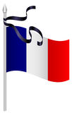 French flag with black mourning ribbon Stock Photos