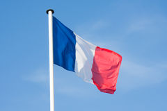 French Flag blowing in the wind Royalty Free Stock Image