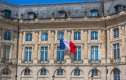 French flag on a building in Bordeaux Stock Photos
