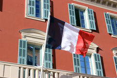 French Flag on a building in Nice, France Stock Photos