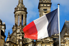 French Flag and Chambord Chateau Stock Photos