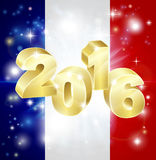 French Flag 2016 Concept. A French flag with 2016 coming out of it with fireworks. Concept for New Year or anything exciting happening in France in the year 2016 Stock Image