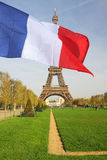 French flag cover Eiffel Tower, Paris Stock Photography