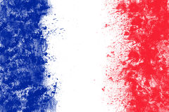 French flag created from splash colours blue white red. Stock Images