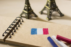 French flag drawing on the sketchbook Stock Images