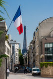 French flag and Eiffel Tower Stock Image