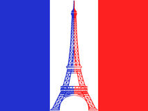 French flag and Eiffel Tower. Illustration of Eiffel tower in national colors on French flag Royalty Free Stock Photography