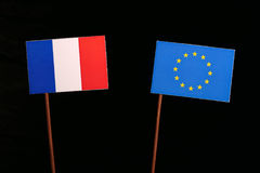 French flag with European Union EU flag isolated on black. Background Royalty Free Stock Images