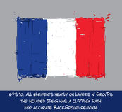 French Flag Flat - Artistic Brush Strokes and Splashes Stock Images