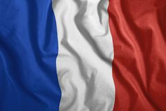 The French flag flutters in the wind. Colorful, national flag of France. Patriotism. royalty free illustration
