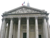The French flag flying above the Panthéon, Paris royalty free stock photos