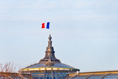 French flag on Great Palace in Paris Stock Photos