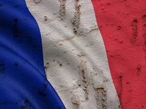 French Flag On Grunge Wall Background. National  Flag of France on Abstract Grunge Wall Background Stock Photography