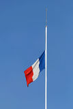 French Flag Half Staff Royalty Free Stock Images