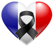 French flag heart with black mourning ribbon Royalty Free Stock Photos