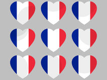 French flag in heart. Collection of hearts with the French flag. Vector Royalty Free Stock Images