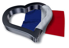 French flag and heart symbol. 3d rendering Royalty Free Stock Photography