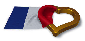 French flag and heart symbol. 3d rendering Stock Photo