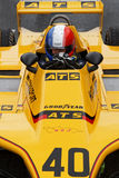 French flag helmet in a yellow formula one car Stock Images