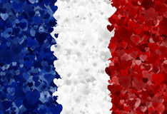 French Flag. Illustration of a French Flag with rendered hearts scattered around Royalty Free Stock Images