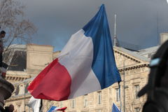 French flag in manifestation,Paris. Stock Image