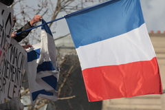 French flag in manifestation,Paris. Royalty Free Stock Images