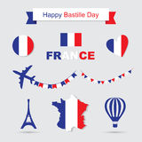 French flag and map icons set. Eiffel Tower icon Stock Photo