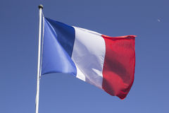French flag on the mast. Royalty Free Stock Photo
