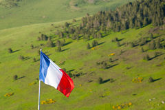 French flag in nature. French flag on a pole in nature Stock Image