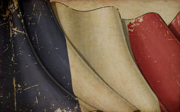 French Flag Old Paper Background Stock Photography