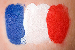 French flag painted on female cheek Stock Photo