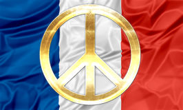 French flag with peace symbol. The national flag of France with golden peace symbol Stock Photos