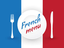 French flag with plates Royalty Free Stock Photos